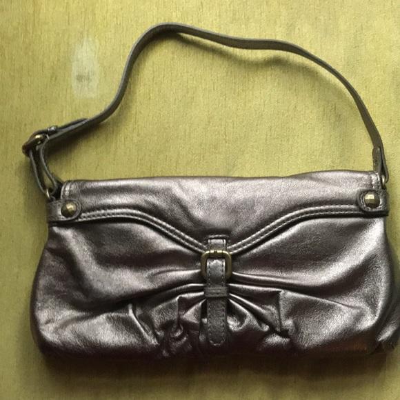 Kooba Handbags - Bronze/pewter metallic leather handbag/clutch